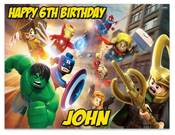 Lego Super Heroes Avengers Edible Cake Image Topper on Frosting and Icing Sheets