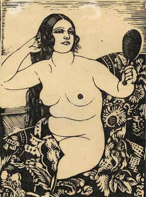 Борис Михайлович Кустодиев (1878-1927) - Женщина с зеркалом, 1926