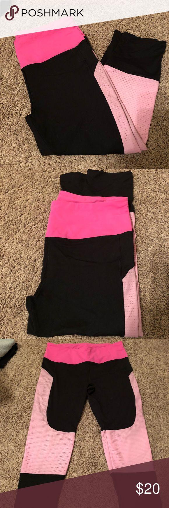 Victoria's Secret large black and pink capris. Victoria's Secret sport. Black and pink leggings. Size large. Excellent condition. Victoria's Secret Pants Leggings