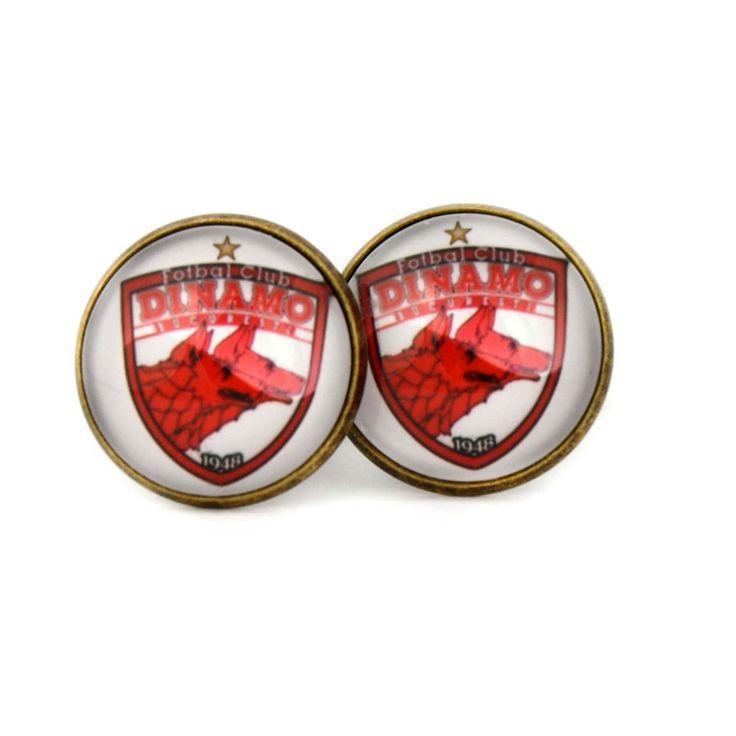 FC Dinamo București Team Logo cufflinks. Professional Romanian football club. Personalised Silver.Men's jewelry accessories gift. by Mysstic on Etsy