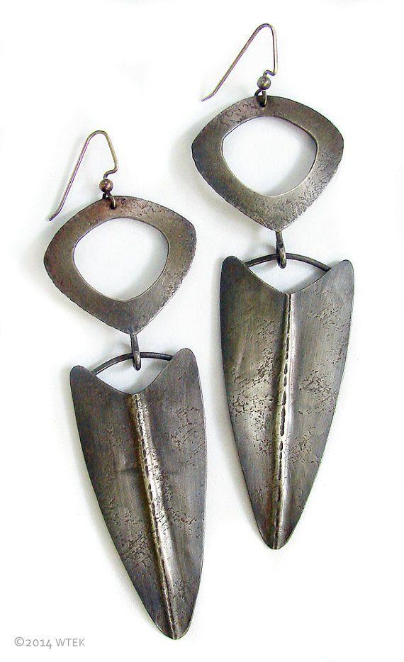 Silver Shield Earrings by WendyEdsallKerwin on Etsy   - handmade - jewelry - jewellery - fashion - earrings