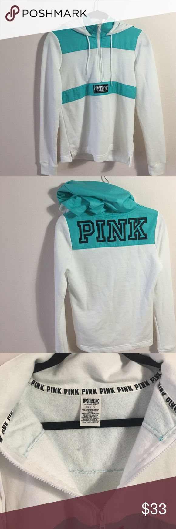 Blue and white hoodie zip up Blue and white 3/4 zip hoodie from PINK the blue part feels like water proof material this hoodie is very warm 60% cotton and 40% polyester  - No flaws,rips or stains  - Never worn  - NWOT PINK Victoria's Secret Sweaters