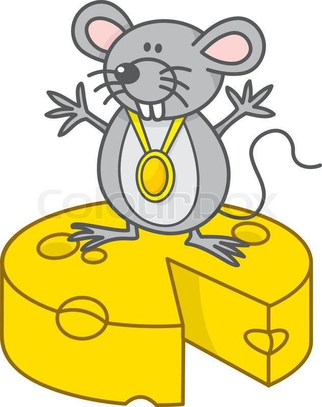 Mus champion tegneserie med medalje står på gul ost | stock vektor | Colourbox on Colourbox