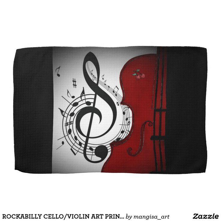 ROCKABILLY CELLO/VIOLIN ART PRINT KITCHEN TOWEL
