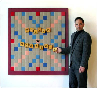 Next on the list for DIY-Velcro Scrabble board wall panel