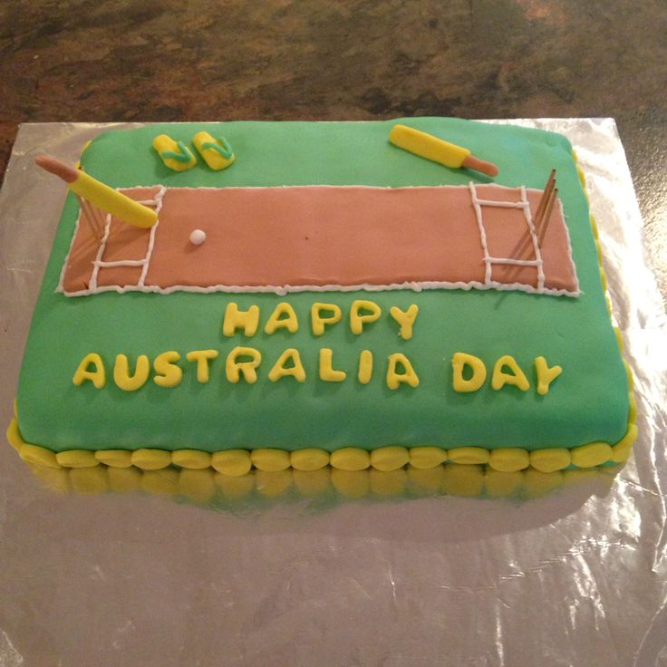 Chocolate cake I made as a request for Australia Day backyard cricket :) first cake I've made with fondant decorations!