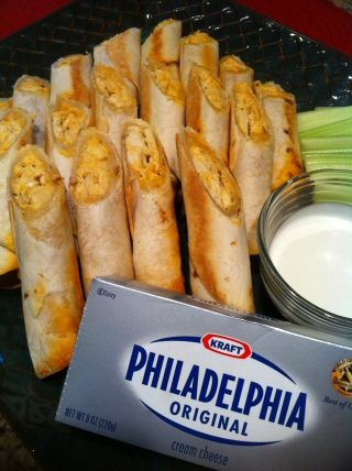 Buffalo Chicken Taquitos 4 cups chicken, cooked and shredded 12 soft taco, flour tortillas 2 cups mozzarella cheese, grated 4 ounces Philadelphia cream cheese 1/3 cup Frank's hot sauce 1/3 cup milk 2 tablespoons butter 1 tsp Mrs. Dash 1 tsp garlic powder 2 tablespoons vegetable oil