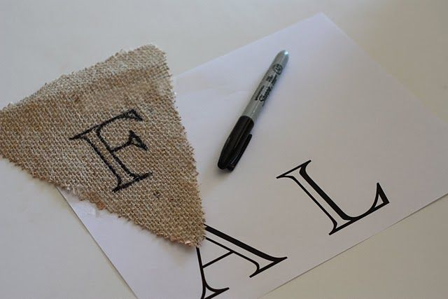burlap banner DIY - Fall decorating saw this banner hanging on a mantel!! must do for fall decorating!