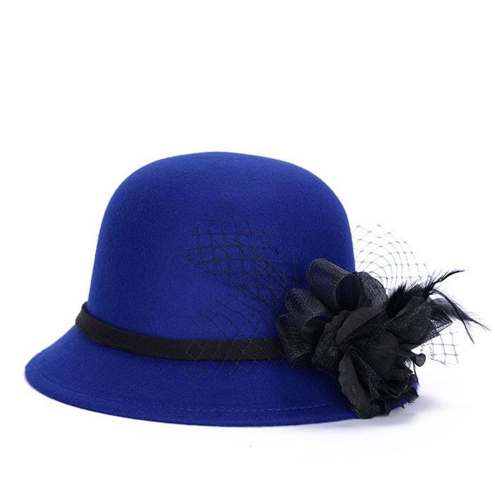 Women Stylish Imitation Wool Tulle Feather Flower Bowler Hat Bucket Cap 6 Colors For Your Selection