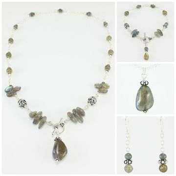 """Aria""  Sterling silver & labradorite with Bali accents."