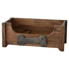 """Hand-finished pinewood toy chest with a personalized dog bone.   Product: Pet toy chestConstruction Material: PinewoodColor: WalnutFeatures:  Stained and hand-rubbed Includes chalkboard dog bone for personalization Dimensions: 10"""" H x 25"""" W x 13"""" D"""