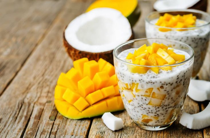 Coconut mango chia pudding recipe, tropical dessert, sweet snack, breakfast treat, coconuts and mangoes.