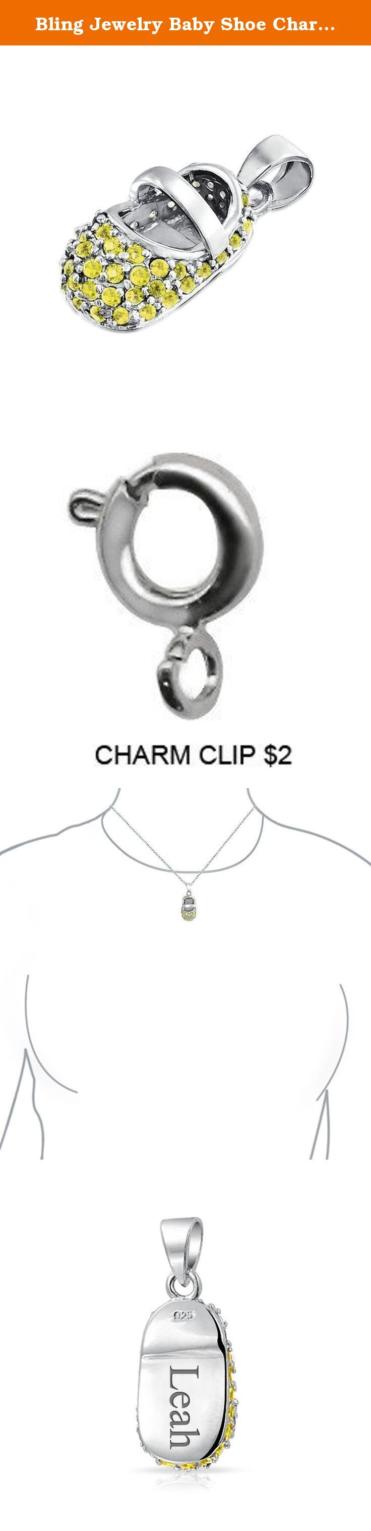 Bling Jewelry Baby Shoe Charm 925 Silver Simulated Citrine CZ. This pretty little baby shoe pendant makes the perfect gift for a new or expectant mom. Made of rhodium plated 925 sterling silver, the baby shoe charm has a nice shine that will remain lustrous for years to come. Also encrusted with Simulated Yellow Topaz cubic zirconia stones, this piece is an excellent piece for a November baby. Although popular for baby showers, you can give baby shoe pendants as gifts on any celebration…