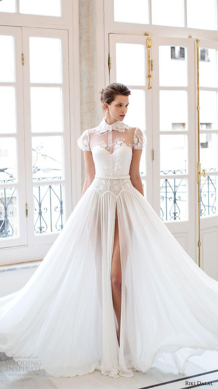 riki dalal bridal 2016 short puff sleeves sweetheart illusion collar shirt bodice a line wedding dress (1802) fv romantic slit skirt