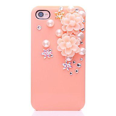 Flor de la perla del modelo del metal de la joyería de nuevo caso para el iPhone 4/4S – EUR € 3.67