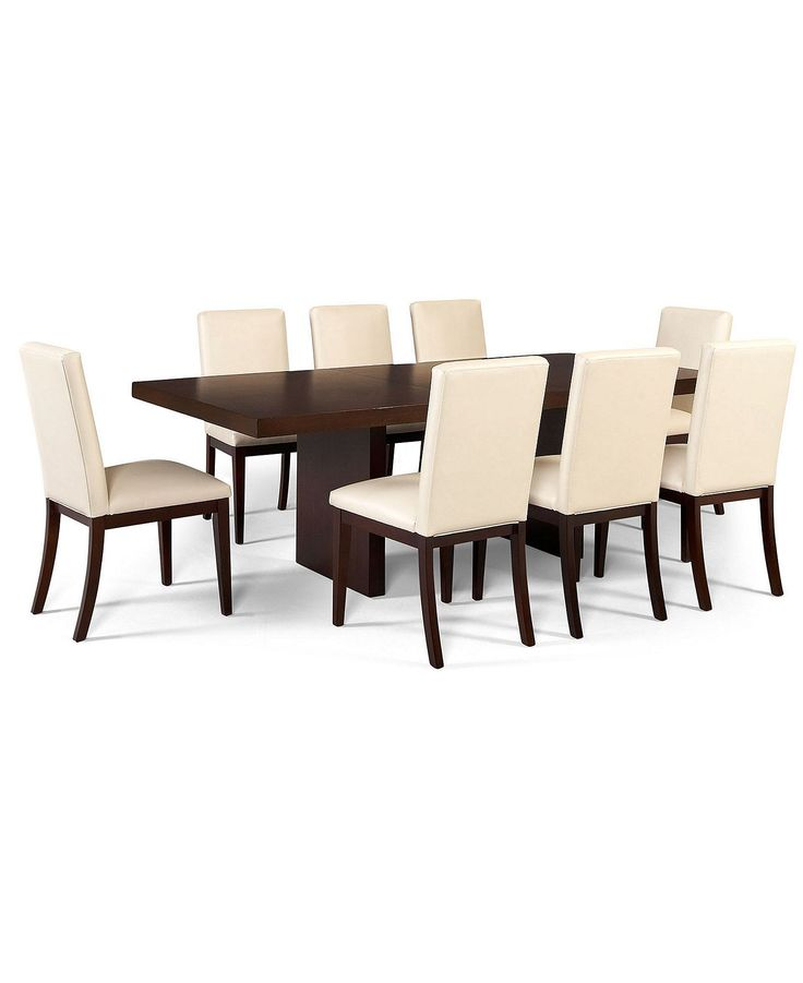 Corso Dining Room Furniture, 9 Piece Set (Table And 8 White Chairs)