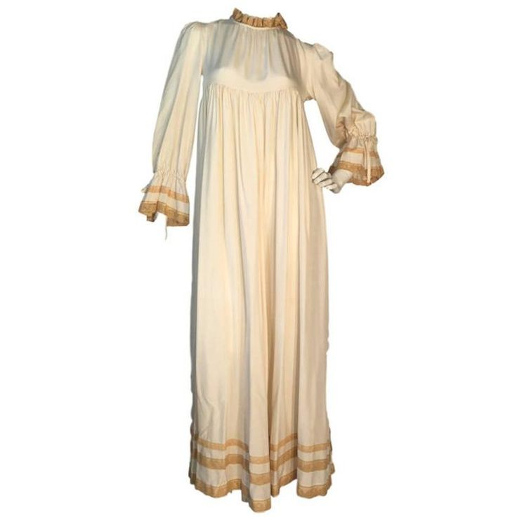 Vintage Gina Fratini Cream Silk & Lace Empire Maxi 1970s Dress Size UK 8    €294,95