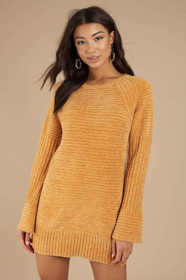 aa52f4e2612 There s nothing like a cute sweater dress to pull your winter look together  in a flash. Introducing the Clara Chenille Mustard Sweater Dress.