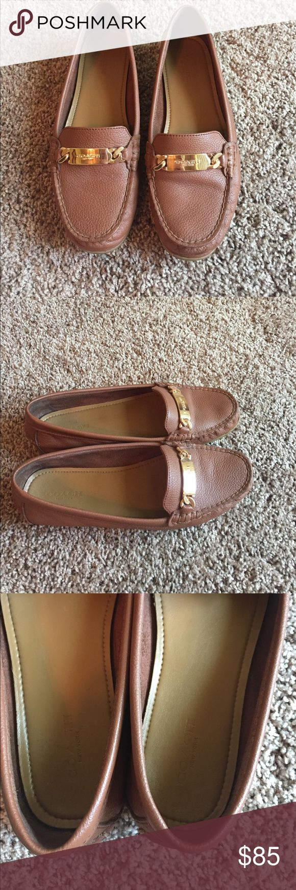 Coach luggage loafers, sz 8 Like new, only worn a couple times.  *make me an offer, need these gone! Coach Shoes Flats & Loafers