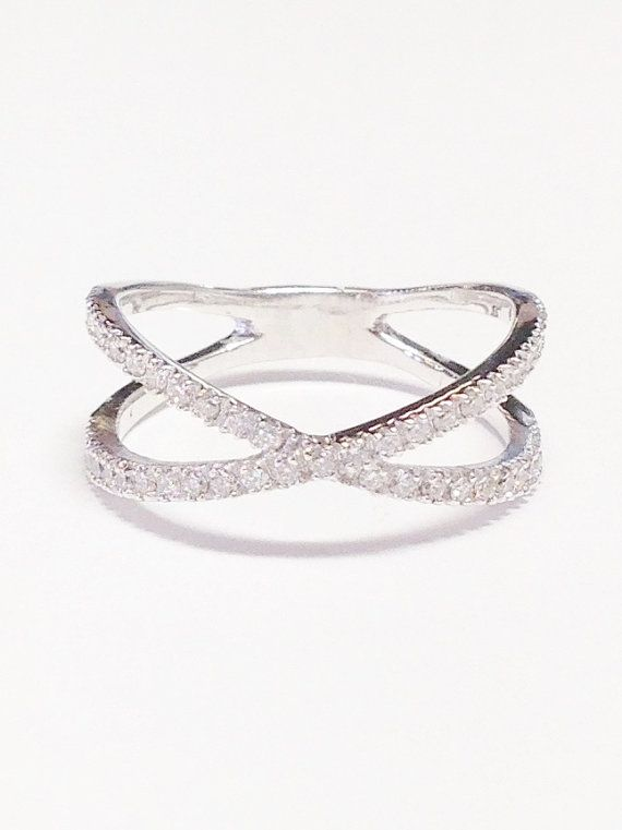 14K WHITE GOLD Criss Cross Ring 3/8 0.40 Carats by FineJewlers