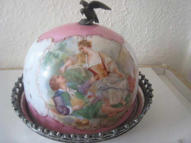 Antique Hand Painted/Signed Victorian Butter Dish
