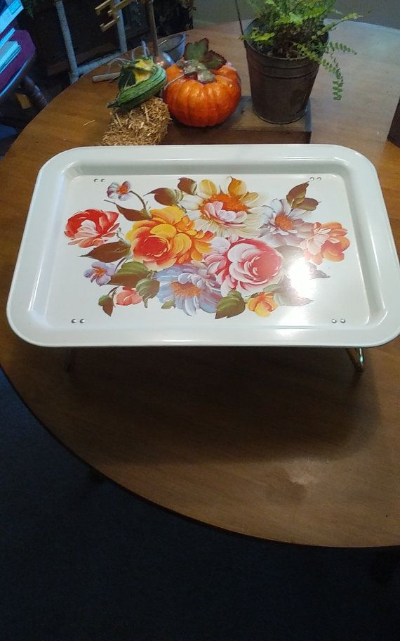 """BiG SALE....Tole Hand Painted Floral """"BED TRAY"""" Tv Tray Mid-Century Folding Bed Tray, Cream Floral Tray, Serving Tray, Floral Bouquet.. Sale"""