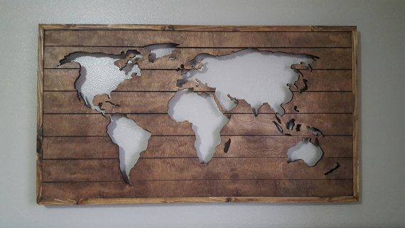 Check out this item in my Etsy shop https://www.etsy.com/listing/266394030/wood-map-cutout-wooden-world-map-stained