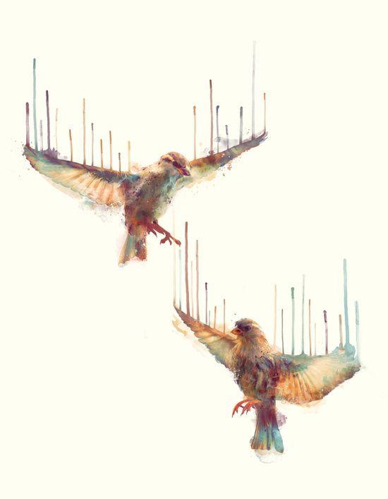 Awake by Amy Hamilton #wall #art #print #society6 #birds