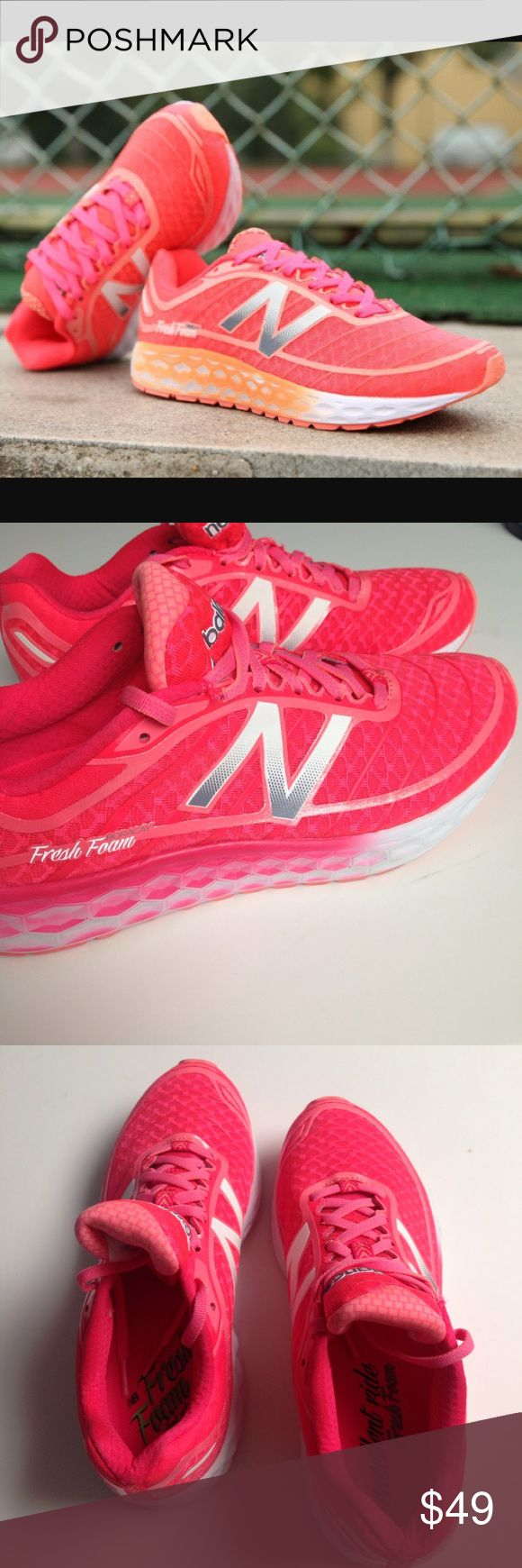 New Balance neon coral  Fresh Foam sneakers Super bright and fun neon coral and pink Fresh Foam sneakers from New Balance. WORN ONCE! Coral colored sneakers with sparkle glitter accent lining all around shoe, pink laces and pink fade on the textured sides.Tread is in new condition! Are basically brand new! Size 8.5 New Balance Shoes Sneakers