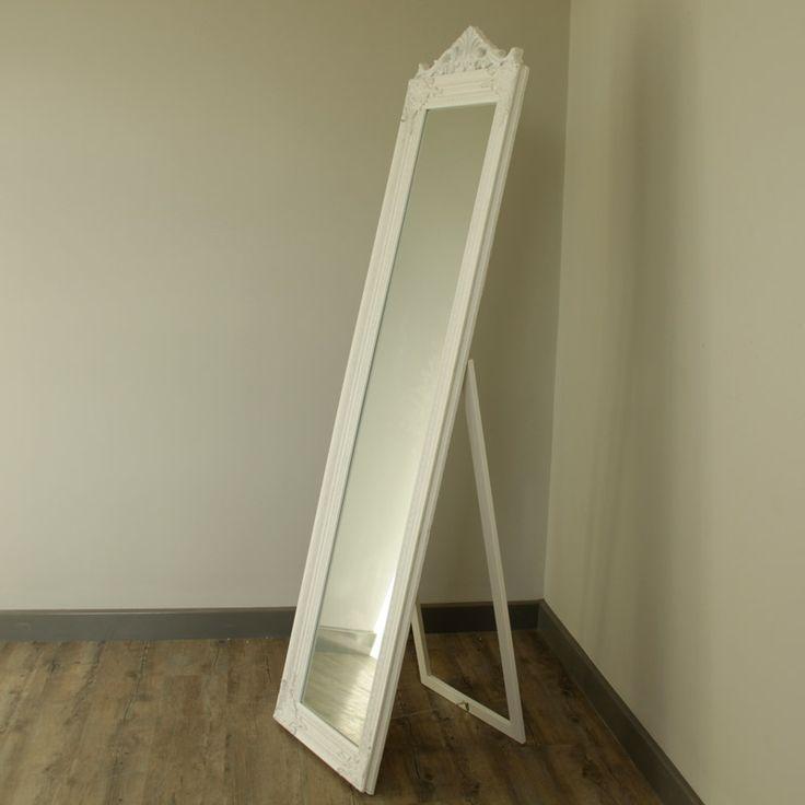 Ornate White Freestanding Mirror