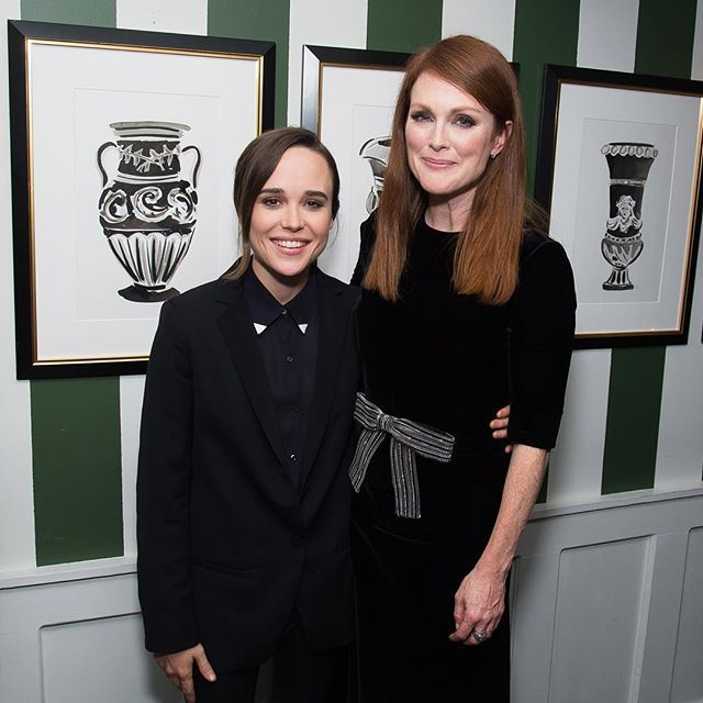 """Ellen Page and Julianne Moore attend the after-party following a screening of """"Freeheld"""" at Omar's on Monday in New York."""