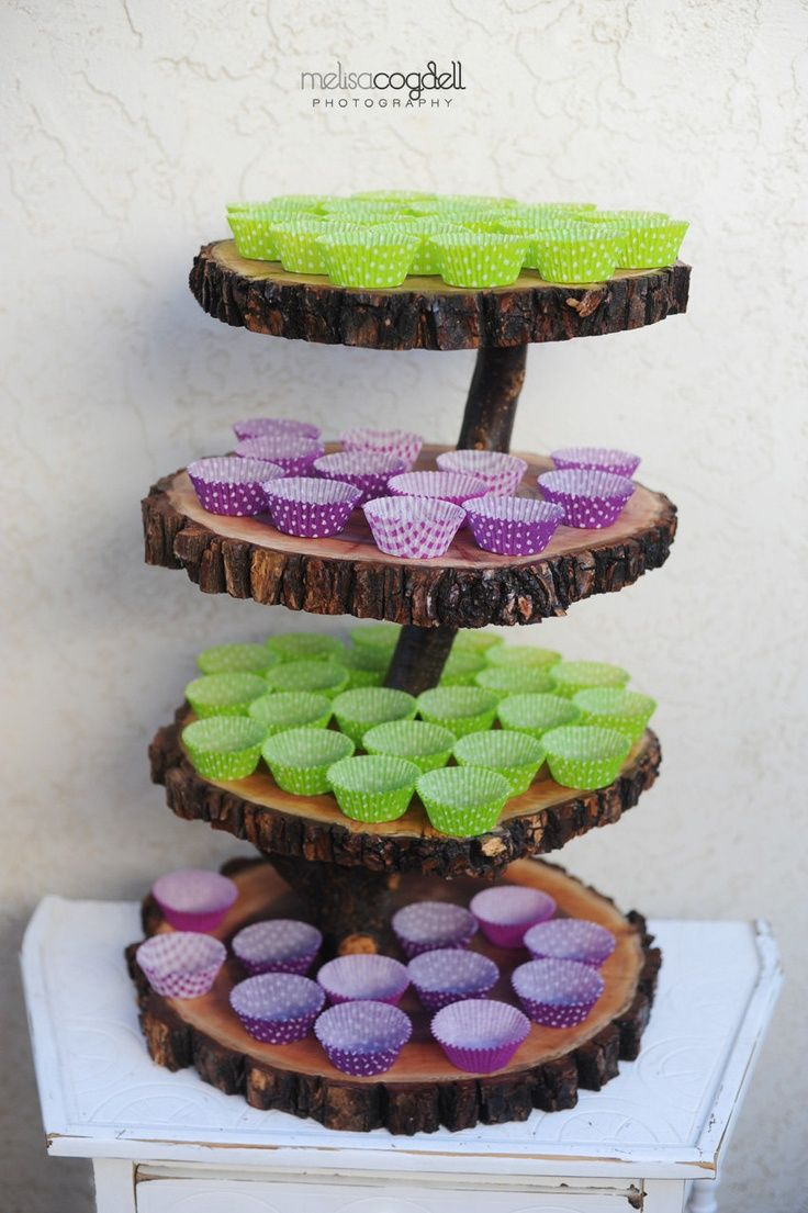 rustic wedding cake stands | Rustic Cupcake Stand Wedding Decor Log Slice By Yourdivineaffair Cake ...