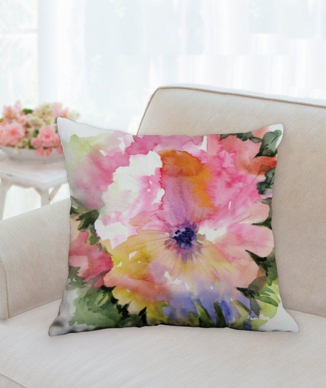 Floral Decorative Pillow Pink Flower 18x18 Decorative Throw Pillow Floral Design Home Decor Floral Decor Pillows Throw Pillows Floral Pillows