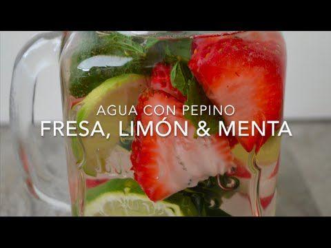 Agua con pepino, fresas, limón y menta (agua infusionada)