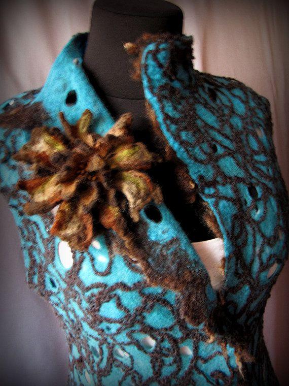 """Felted vest """"Cobweb turquoise """""""