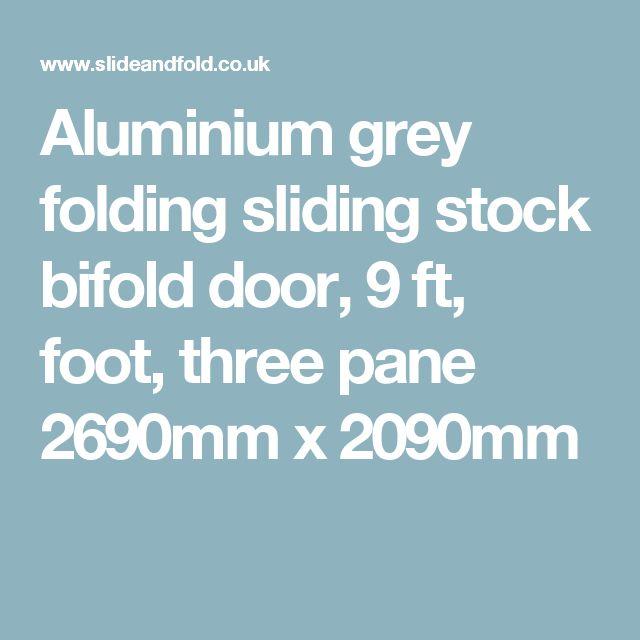 Aluminium grey folding sliding stock bifold door, 9 ft, foot, three pane 2690mm x 2090mm