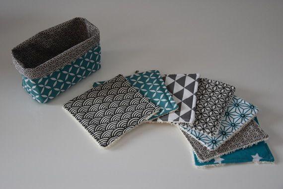 Lot de 7 lingettes lavables + panier de rangement - Éponge et tissu en coton