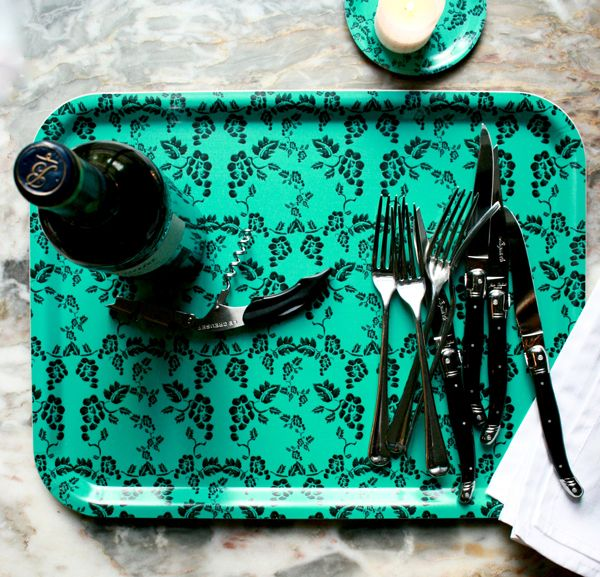"""""""Vine, Turquoise"""" tray £25. This large versatile tray is both functional and decorative.  Use for breakfast in bed, afternoon tea or as a charming coffee table accessory.  Featuring original The Humble Cut potato printed artwork they are extremely durable and dishwasher safe up to 95ºC.  Handmade in Sweden from birch veneer.  Size 43 x 33cm #trays #tableware #drinkstray"""