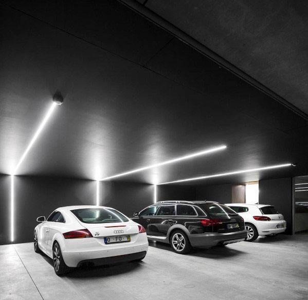 Top 40 Best Garage Ceiling Ideas Automotive Space Interior Designs Black Modern Led Strip Lighting Garage Ceili In 2020 Garage Design Parking Design Garage Interior