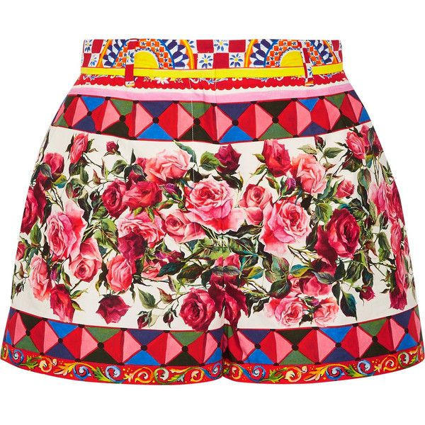 Dolce & Gabbana Printed cotton-poplin shorts ($860) ❤ liked on Polyvore featuring shorts, pastel shorts, patterned shorts, pink shorts, print shorts and colorful shorts