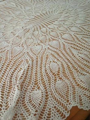 oval pineapple tablecloth I crocheted | my crafts ...