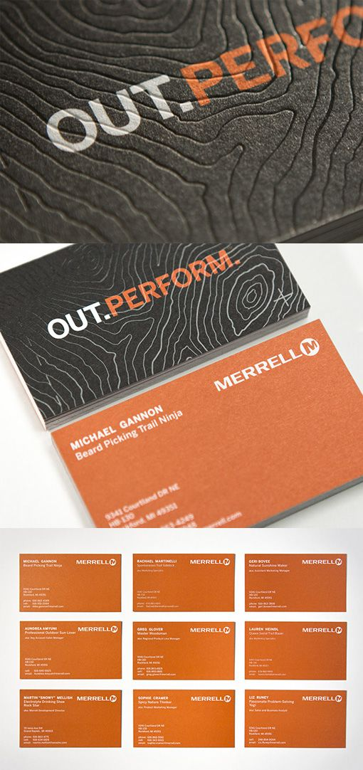 Textured Topographic Map Business Cards With Humorous Self Chosen Fictitious Employee Job Titles