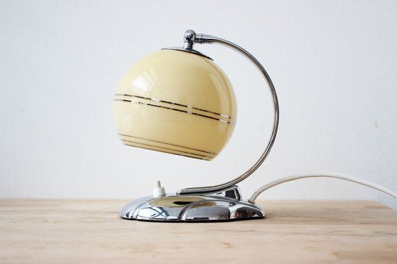 Vintage Lighting - 1930 Art Deco Lamp - Small Bedside Table Lamp with striped milky Glass Shade, Silver Base