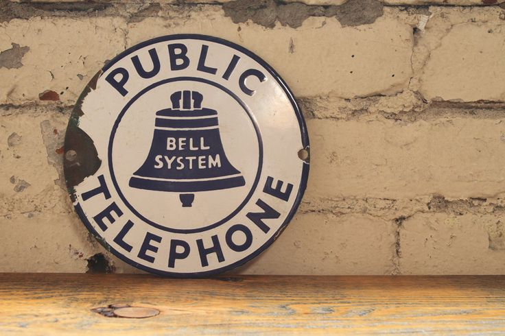 Vintage Porcelain Bell Telephone Sign, via The Mason Dixon on Etsy