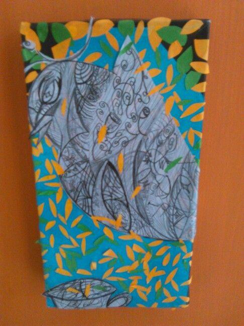 Cuadro hecho con tapas de caja de zapatos, se dibuja la figura en una hoja se recorta se pega y alrededor se les pega en forma de gotas papelitos hechis en papel iris