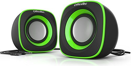 OfficeTec USB Speakers Compact 2.0 System for Mac and PC (Green)