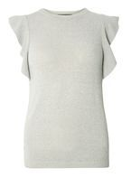 Womens Grey Knitted Frill Sleeve T-Shirt- Grey