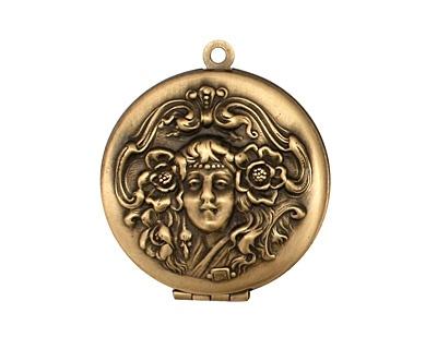 Antique Brass (plated) Round Maiden Heirloom Locket: Antique Brass, Brass Plates, Antiques Brass