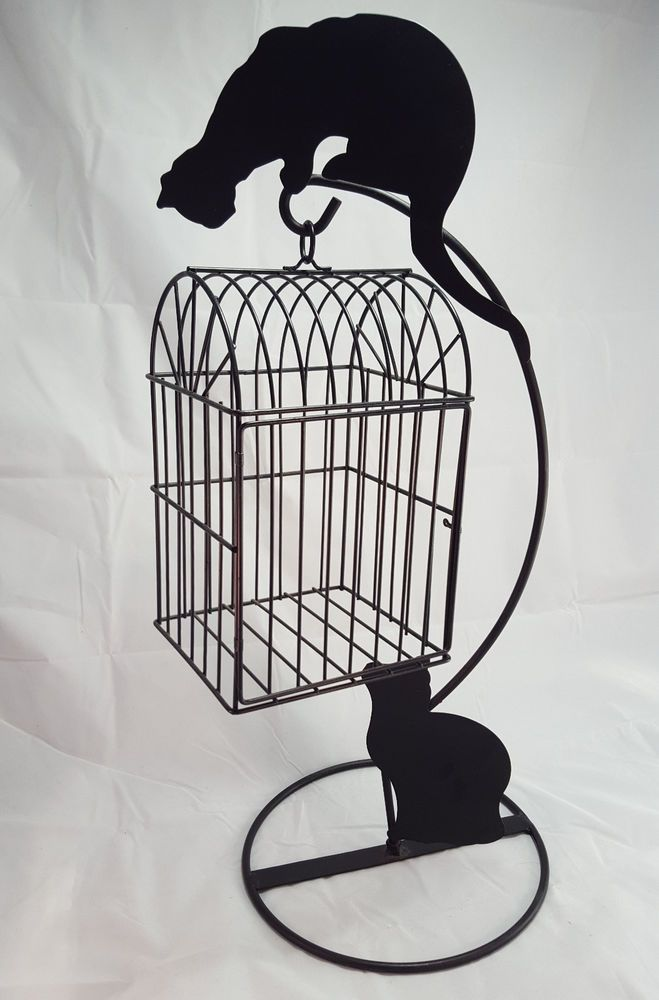 Details About Decorative Bird Cage Stand Cat Silhouette