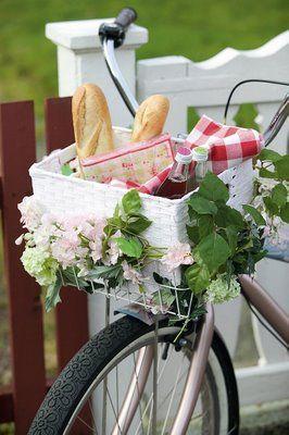 Mit dem Fahrrad zum picknicken